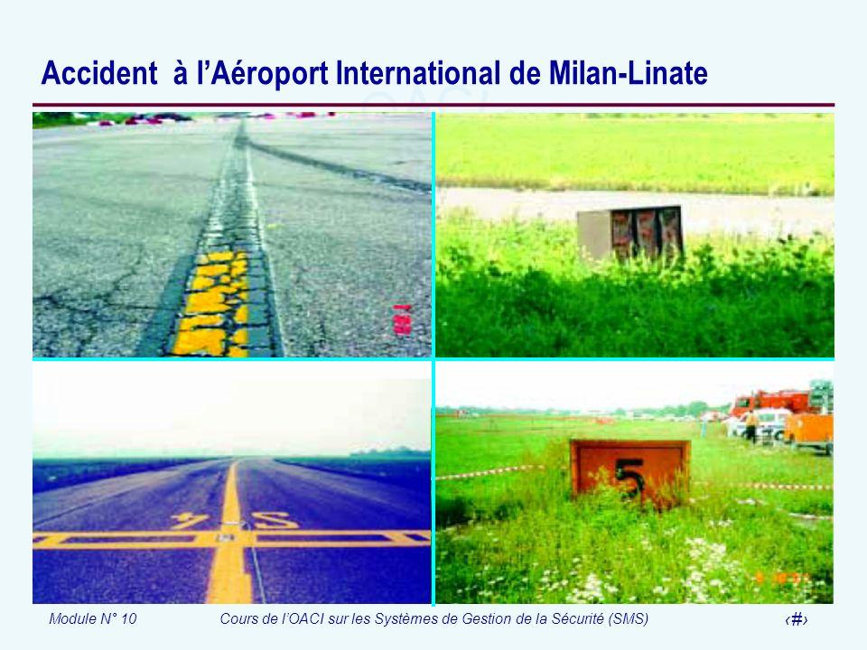 Module N° 10Cours de lOACI sur les Systèmes de Gestion de la Sécurité (SMS) 32 Accident à lAéroport International de Milan-Linate