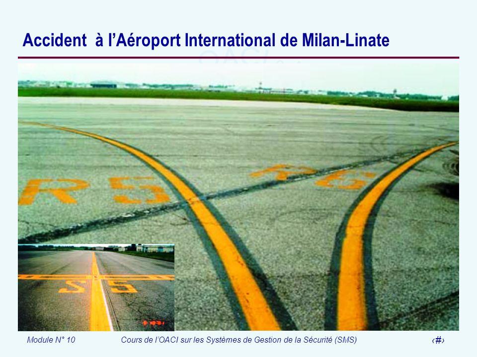 Module N° 10Cours de lOACI sur les Systèmes de Gestion de la Sécurité (SMS) 33 Accident à lAéroport International de Milan-Linate