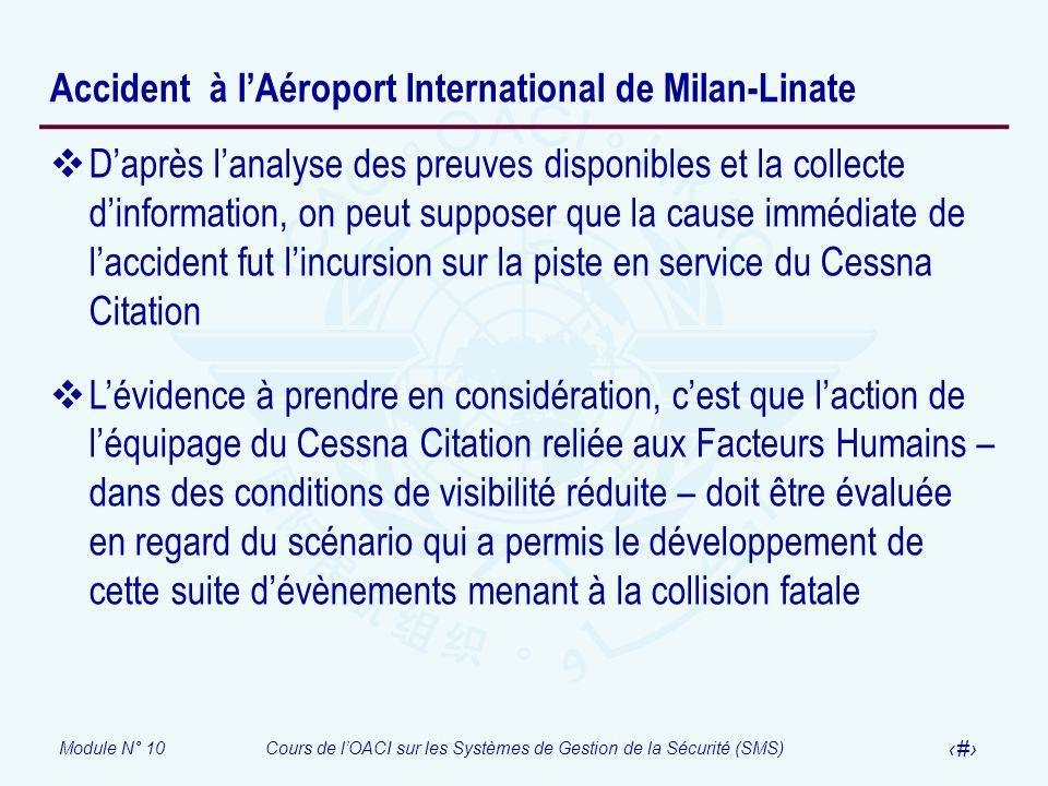 Module N° 10Cours de lOACI sur les Systèmes de Gestion de la Sécurité (SMS) 34 Accident à lAéroport International de Milan-Linate Daprès lanalyse des