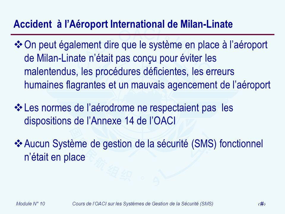 Module N° 10Cours de lOACI sur les Systèmes de Gestion de la Sécurité (SMS) 35 Accident à lAéroport International de Milan-Linate On peut également di