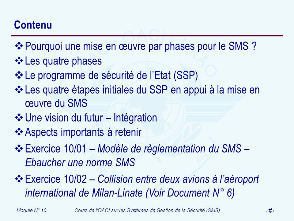 Module N° 10Cours de lOACI sur les Systèmes de Gestion de la Sécurité (SMS) 4 Contenu Pourquoi une mise en œuvre par phases pour le SMS ? Les quatre p