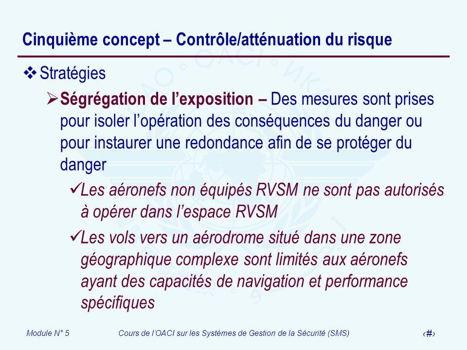 Module N° 5Cours de lOACI sur les Systèmes de Gestion de la Sécurité (SMS) 24 Cinquième concept – Contrôle/atténuation du risque Stratégies Ségrégatio
