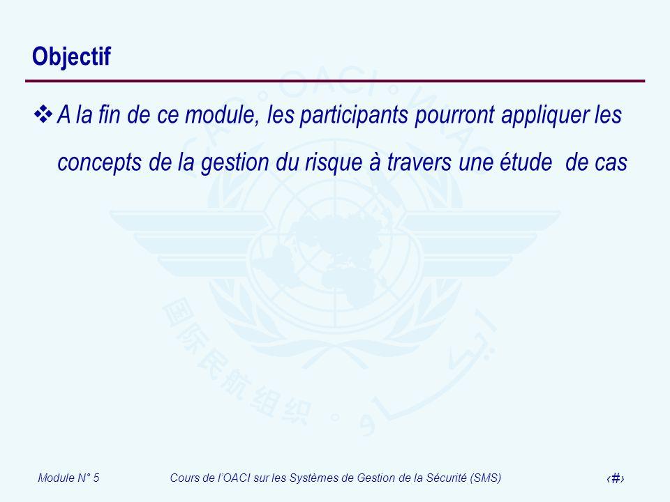 Module N° 5Cours de lOACI sur les Systèmes de Gestion de la Sécurité (SMS) 3 Objectif A la fin de ce module, les participants pourront appliquer les c