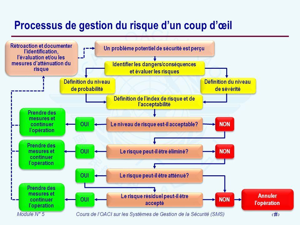 Module N° 5Cours de lOACI sur les Systèmes de Gestion de la Sécurité (SMS) 30 Processus de gestion du risque dun coup dœil Définition de lindex de ris