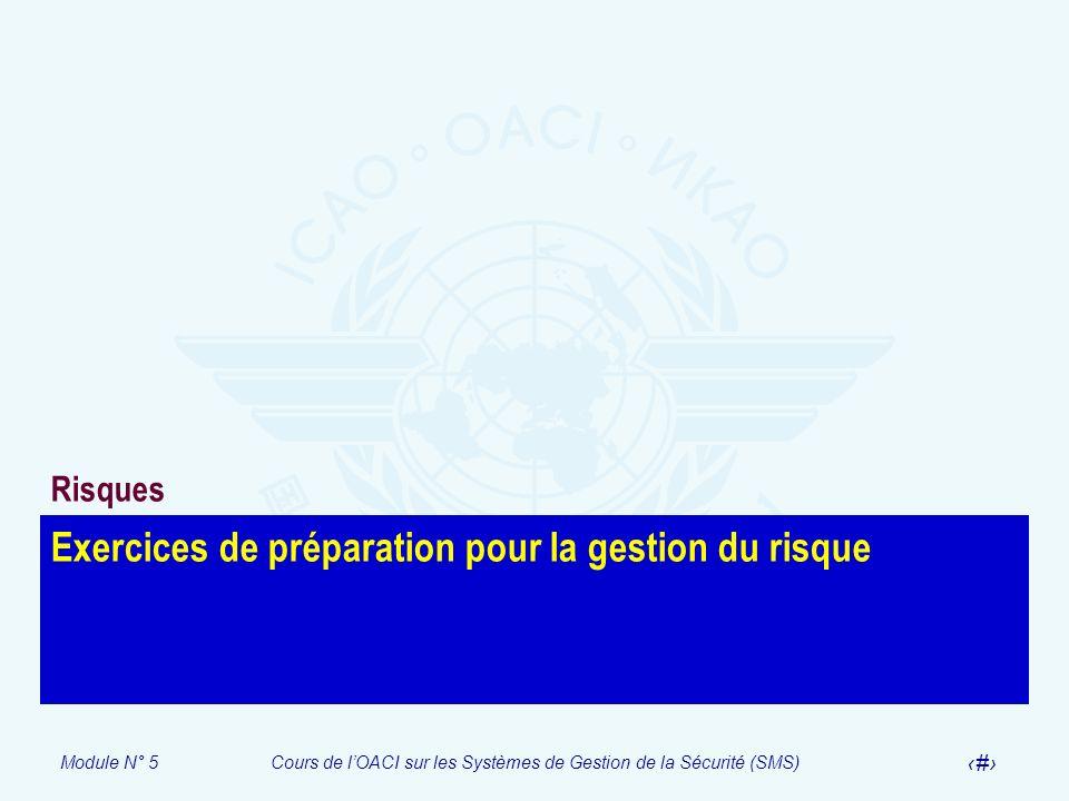 Module N° 5Cours de lOACI sur les Systèmes de Gestion de la Sécurité (SMS) 31 Exercices de préparation pour la gestion du risque Risques