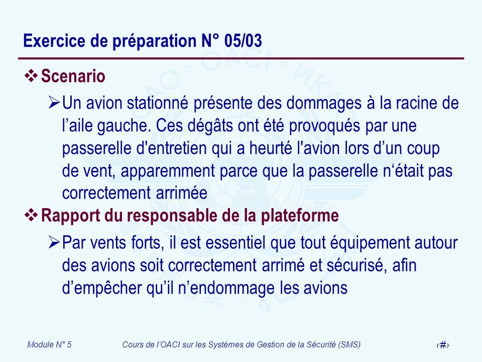 Module N° 5Cours de lOACI sur les Systèmes de Gestion de la Sécurité (SMS) 36 Exercice de préparation N° 05/03 Scenario Un avion stationné présente de