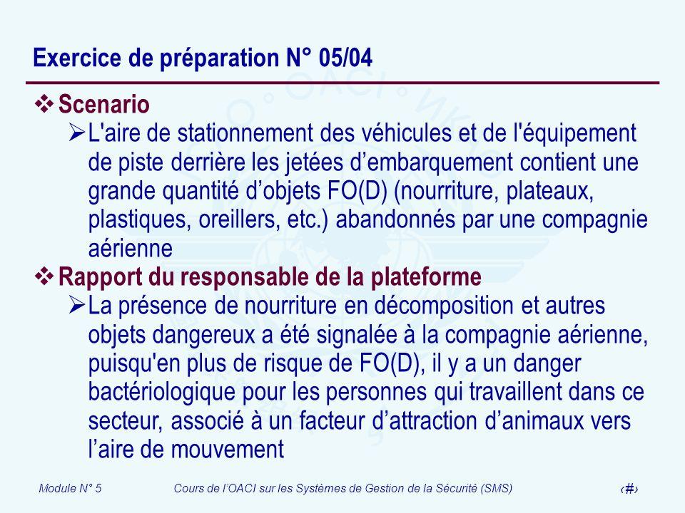 Module N° 5Cours de lOACI sur les Systèmes de Gestion de la Sécurité (SMS) 38 Exercice de préparation N° 05/04 Scenario L'aire de stationnement des vé