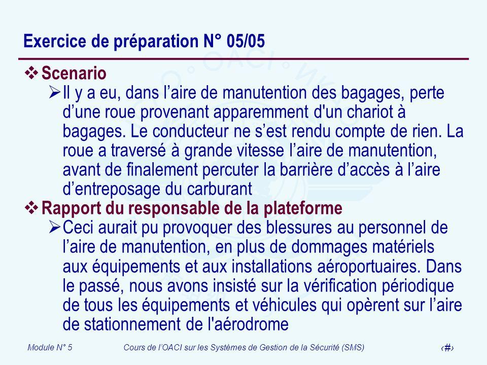 Module N° 5Cours de lOACI sur les Systèmes de Gestion de la Sécurité (SMS) 40 Exercice de préparation N° 05/05 Scenario Il y a eu, dans laire de manut