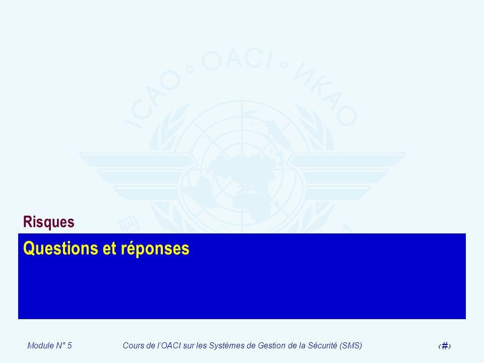 Module N° 5Cours de lOACI sur les Systèmes de Gestion de la Sécurité (SMS) 44 Questions et réponses Risques