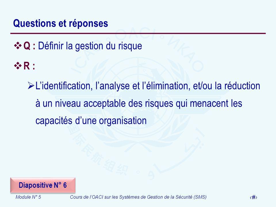 Module N° 5Cours de lOACI sur les Systèmes de Gestion de la Sécurité (SMS) 45 Questions et réponses Q : Définir la gestion du risque R : Lidentificati