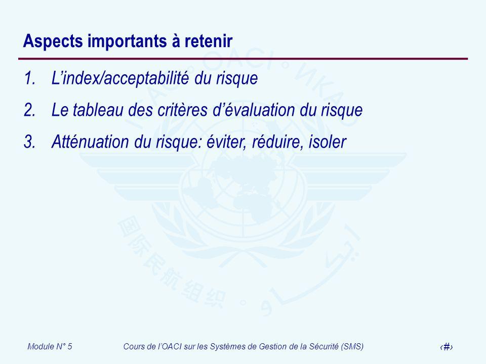 Module N° 5Cours de lOACI sur les Systèmes de Gestion de la Sécurité (SMS) 50 Aspects importants à retenir 1.Lindex/acceptabilité du risque 2.Le table