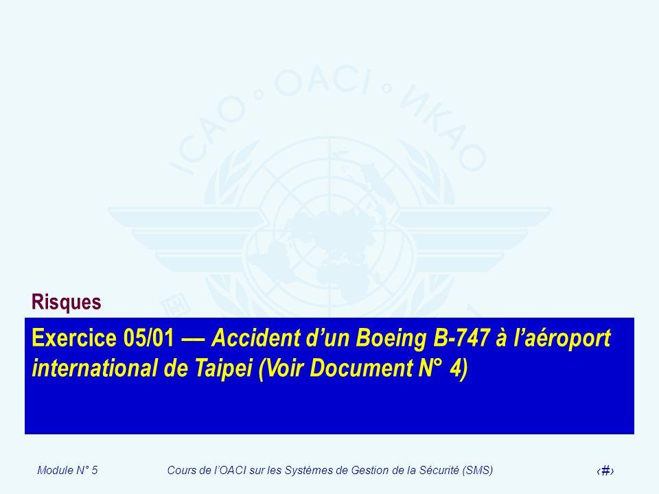 Module N° 5Cours de lOACI sur les Systèmes de Gestion de la Sécurité (SMS) 51 Exercice 05/01 –– Accident dun Boeing B-747 à laéroport international de