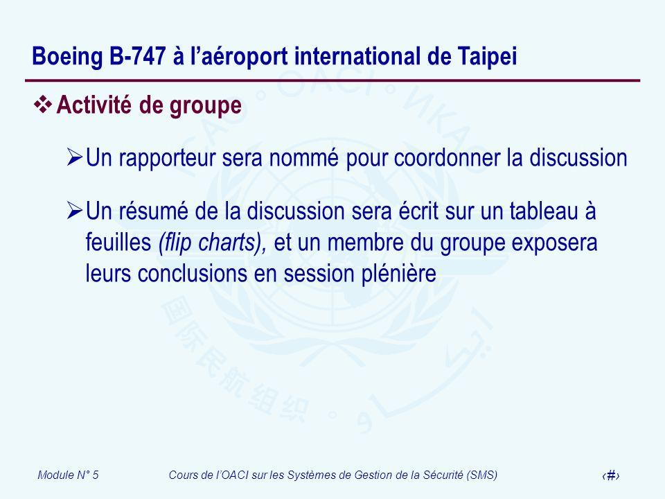 Module N° 5Cours de lOACI sur les Systèmes de Gestion de la Sécurité (SMS) 52 Boeing B-747 à laéroport international de Taipei Activité de groupe Un r