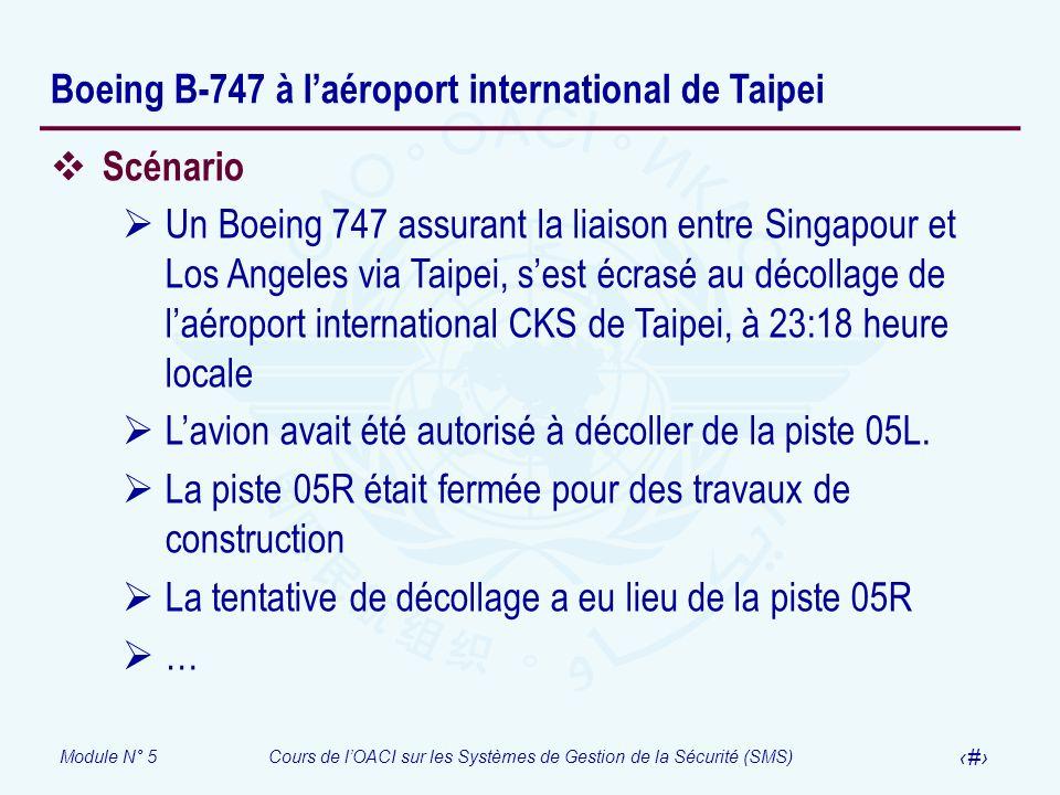 Module N° 5Cours de lOACI sur les Systèmes de Gestion de la Sécurité (SMS) 53 Boeing B-747 à laéroport international de Taipei Scénario Un Boeing 747