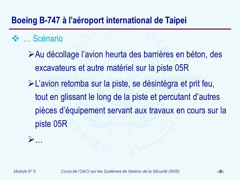 Module N° 5Cours de lOACI sur les Systèmes de Gestion de la Sécurité (SMS) 54 Boeing B-747 à laéroport international de Taipei … Scénario Au décollage