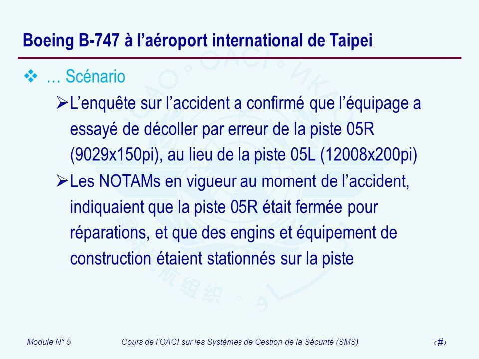 Module N° 5Cours de lOACI sur les Systèmes de Gestion de la Sécurité (SMS) 55 Boeing B-747 à laéroport international de Taipei … Scénario Lenquête sur