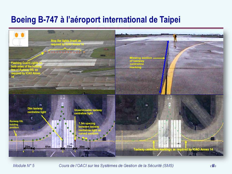 Module N° 5Cours de lOACI sur les Systèmes de Gestion de la Sécurité (SMS) 58 Boeing B-747 à laéroport international de Taipei