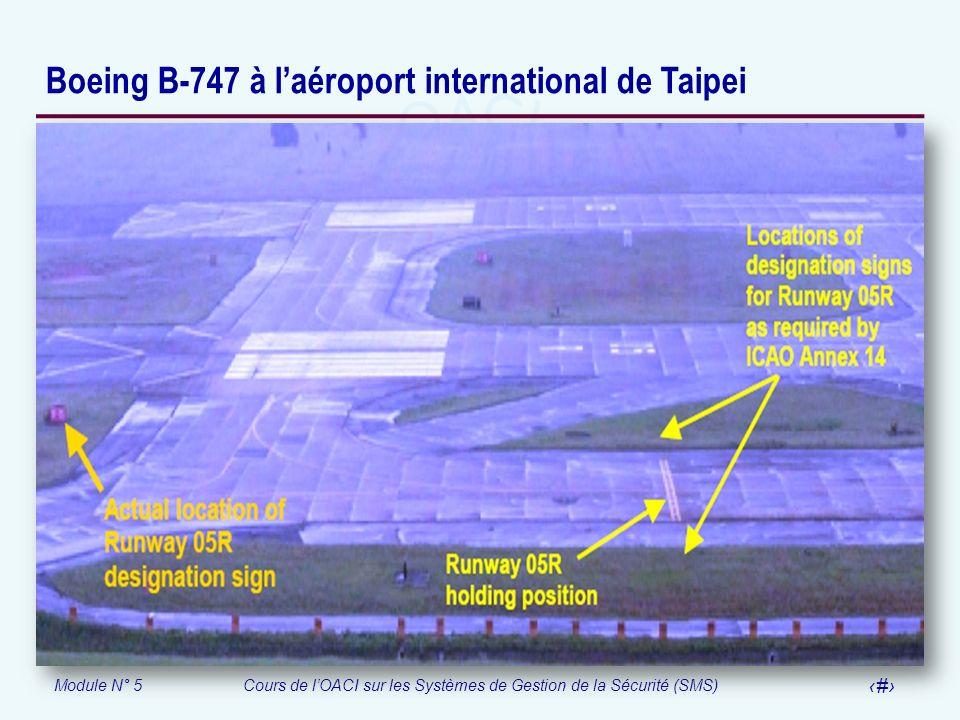 Module N° 5Cours de lOACI sur les Systèmes de Gestion de la Sécurité (SMS) 59 Boeing B-747 à laéroport international de Taipei