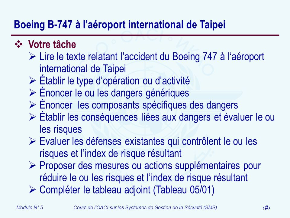 Module N° 5Cours de lOACI sur les Systèmes de Gestion de la Sécurité (SMS) 60 Boeing B-747 à laéroport international de Taipei Votre tâche Lire le tex