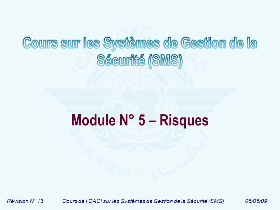 Révision N° 13Cours de lOACI sur les Systèmes de Gestion de la Sécurité (SMS)06/05/09 Module N° 5 – Risques