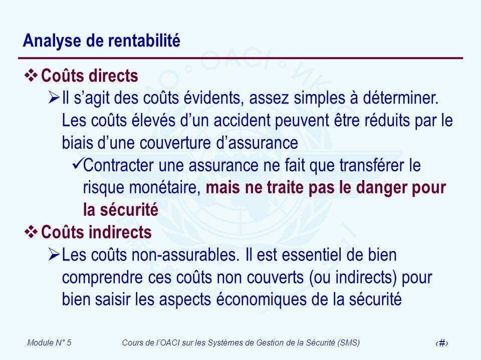 Module N° 5Cours de lOACI sur les Systèmes de Gestion de la Sécurité (SMS) 8 Analyse de rentabilité Coûts directs Il sagit des coûts évidents, assez s