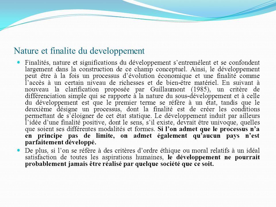 Nature et finalite du developpement Finalités, nature et significations du développement sentremêlent et se confondent largement dans la construction