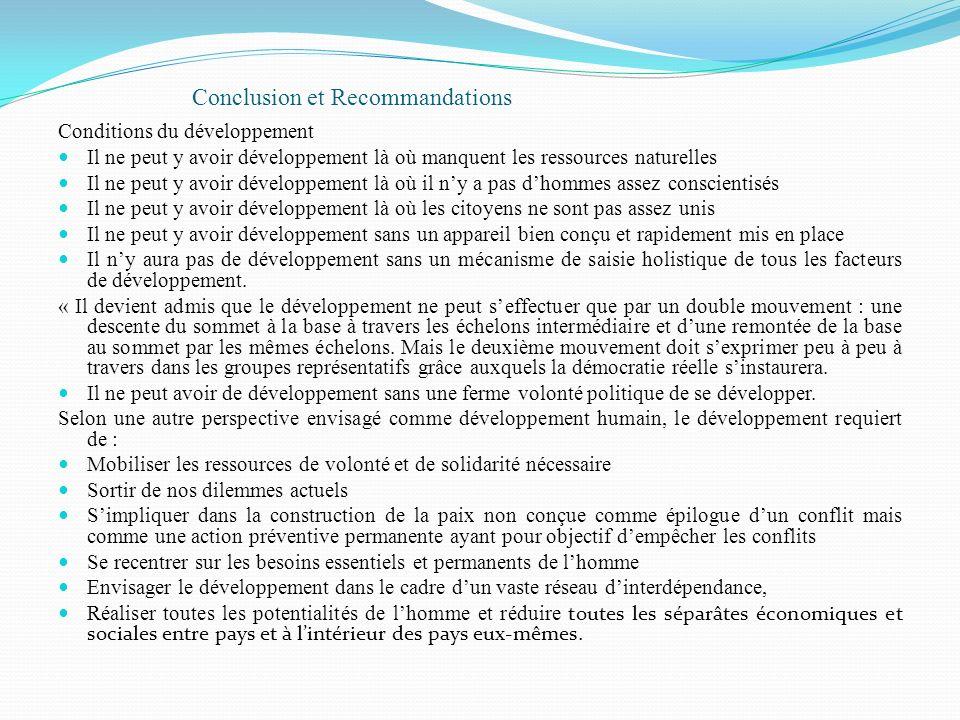 Conclusion et Recommandations Conditions du développement Il ne peut y avoir développement là où manquent les ressources naturelles Il ne peut y avoir
