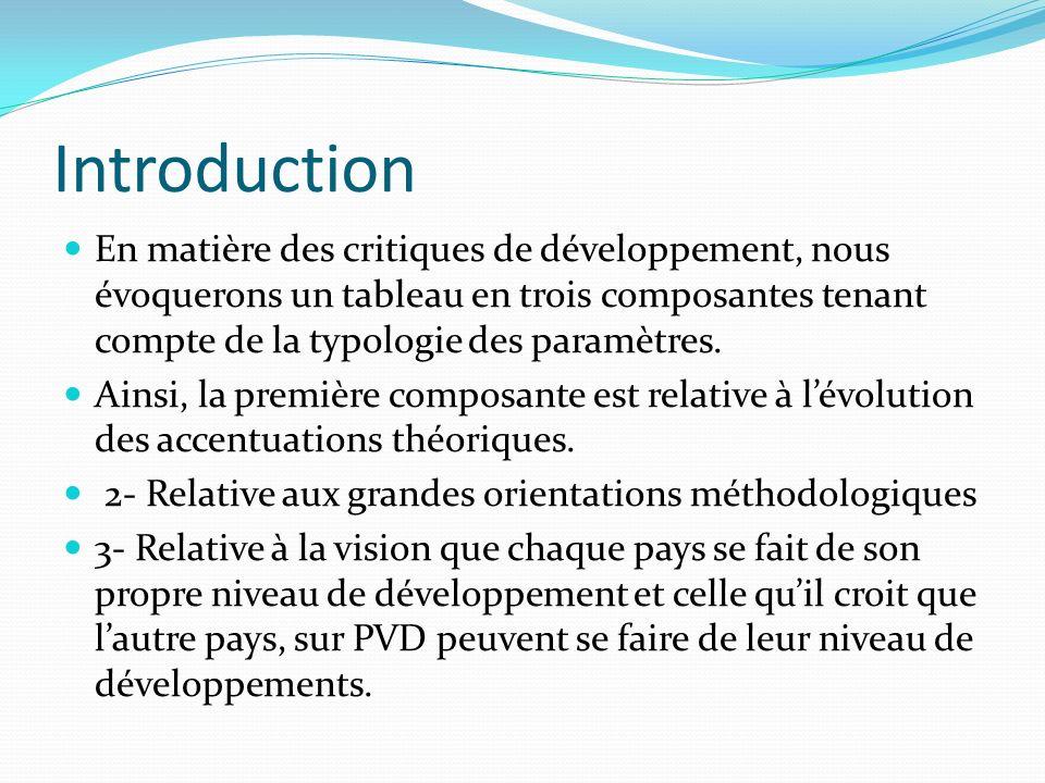 Introduction En matière des critiques de développement, nous évoquerons un tableau en trois composantes tenant compte de la typologie des paramètres.