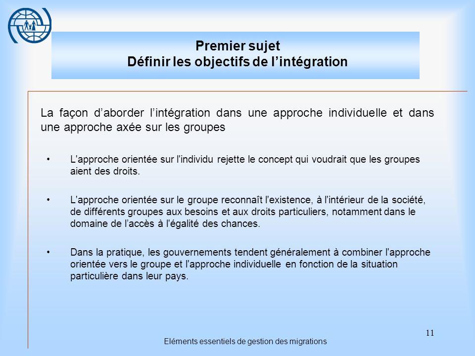 11 Eléments essentiels de gestion des migrations Premier sujet Définir les objectifs de lintégration La façon daborder lintégration dans une approche individuelle et dans une approche axée sur les groupes L approche orientée sur l individu rejette le concept qui voudrait que les groupes aient des droits.