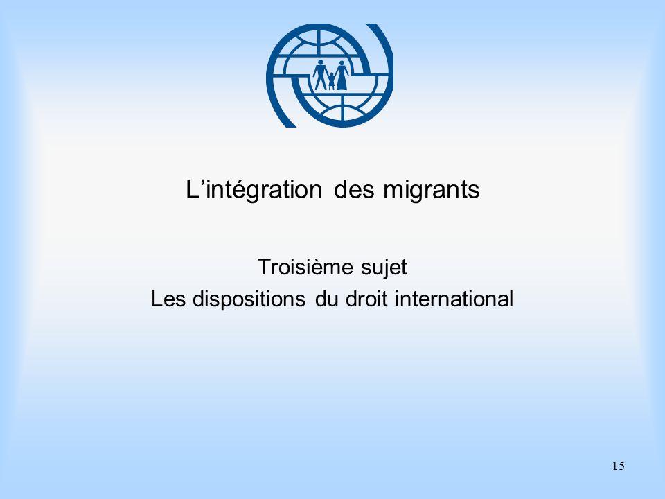 15 Lintégration des migrants Troisième sujet Les dispositions du droit international