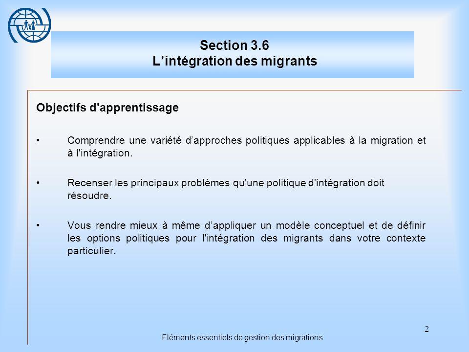 2 Eléments essentiels de gestion des migrations Section 3.6 Lintégration des migrants Objectifs d apprentissage Comprendre une variété dapproches politiques applicables à la migration et à l intégration.