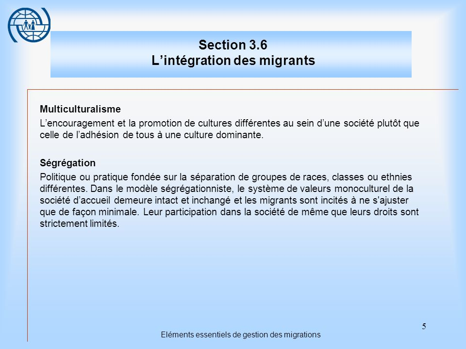 16 Eléments essentiels de gestion des migrations Troisième sujet Les dispositions du droit international Points importants 1.International law contains provisions concerning a number of basic rights, which are specifically relevant to integration.