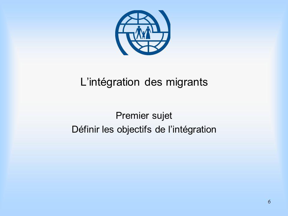 6 Lintégration des migrants Premier sujet Définir les objectifs de lintégration