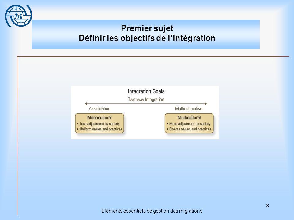 9 Eléments essentiels de gestion des migrations Premier sujet Définir les objectifs de lintégration Points importants 1.Les approches politiques des États récepteurs sont variées et elles ont évolué de façon significative avec le temps.