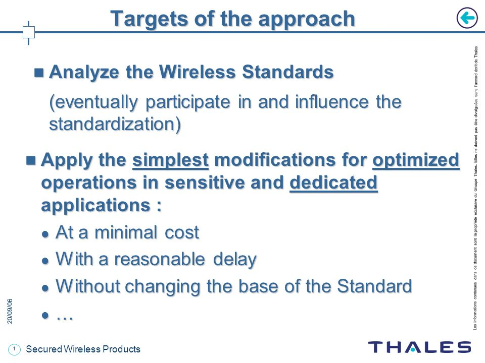 20/09/06 Secured Wireless Products Wireless Standards adaptation