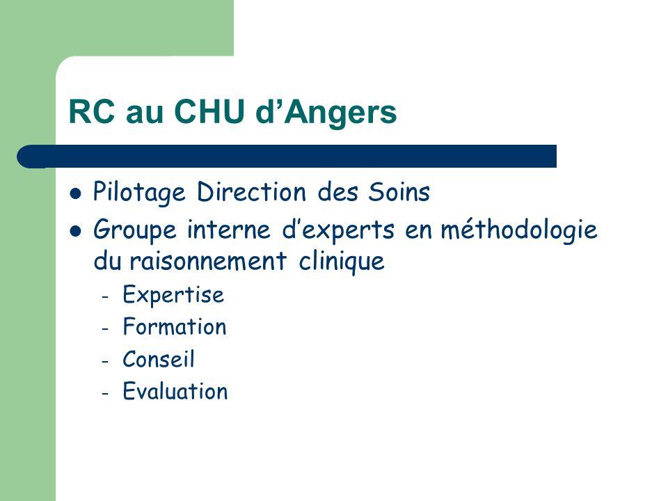 RC au CHU dAngers Pilotage Direction des Soins Groupe interne dexperts en méthodologie du raisonnement clinique – Expertise – Formation – Conseil – Ev