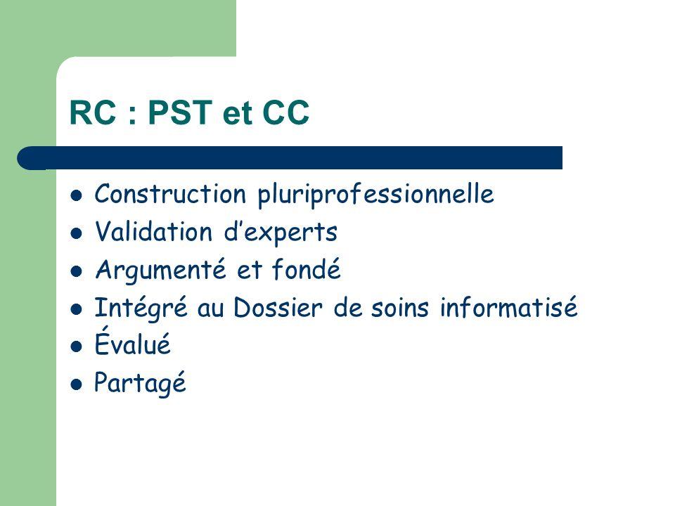 RC : PST et CC Construction pluriprofessionnelle Validation dexperts Argumenté et fondé Intégré au Dossier de soins informatisé Évalué Partagé