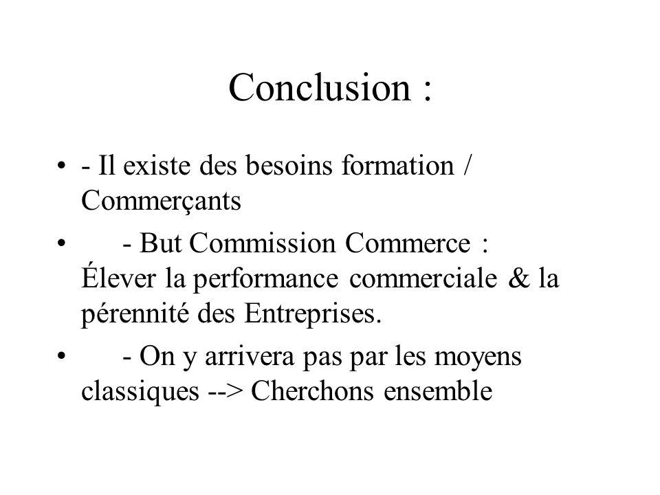 Conclusion : - Il existe des besoins formation / Commerçants - But Commission Commerce : Élever la performance commerciale & la pérennité des Entreprises.