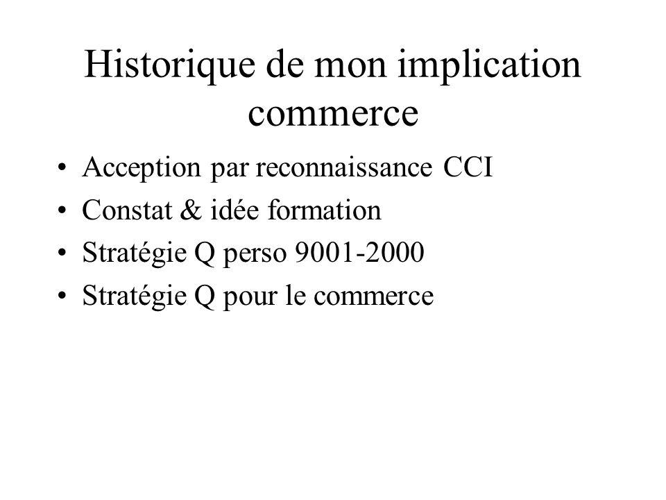 Historique de mon implication commerce Acception par reconnaissance CCI Constat & idée formation Stratégie Q perso 9001-2000 Stratégie Q pour le commerce