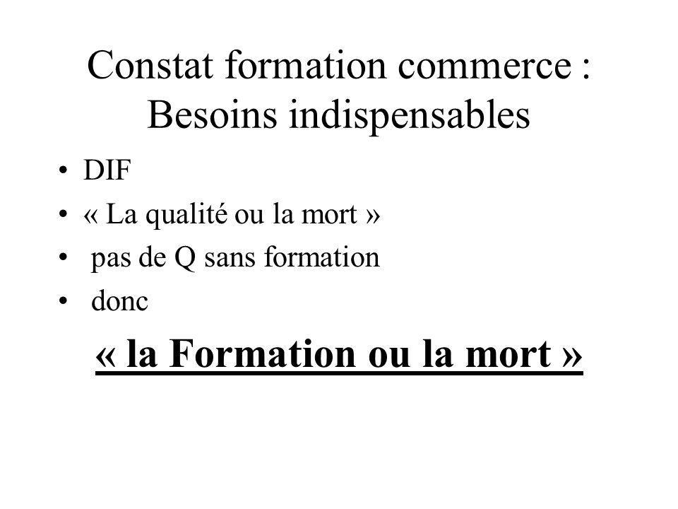 Constat formation commerce : Besoins indispensables DIF « La qualité ou la mort » pas de Q sans formation donc « la Formation ou la mort »
