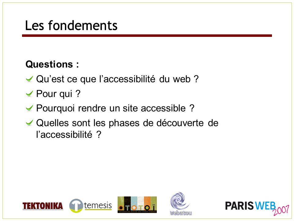 Les fondements Questions : Quest ce que laccessibilité du web ? Pour qui ? Pourquoi rendre un site accessible ? Quelles sont les phases de découverte