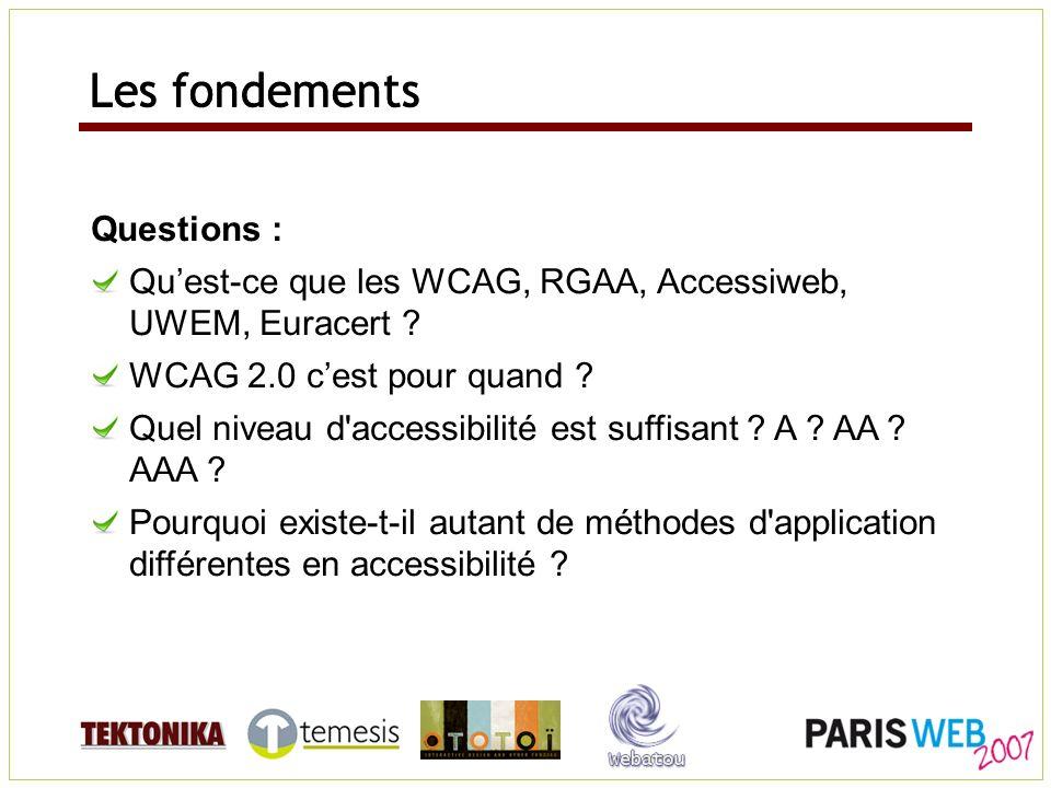 Questions : Quest-ce que les WCAG, RGAA, Accessiweb, UWEM, Euracert ? WCAG 2.0 cest pour quand ? Quel niveau d'accessibilité est suffisant ? A ? AA ?