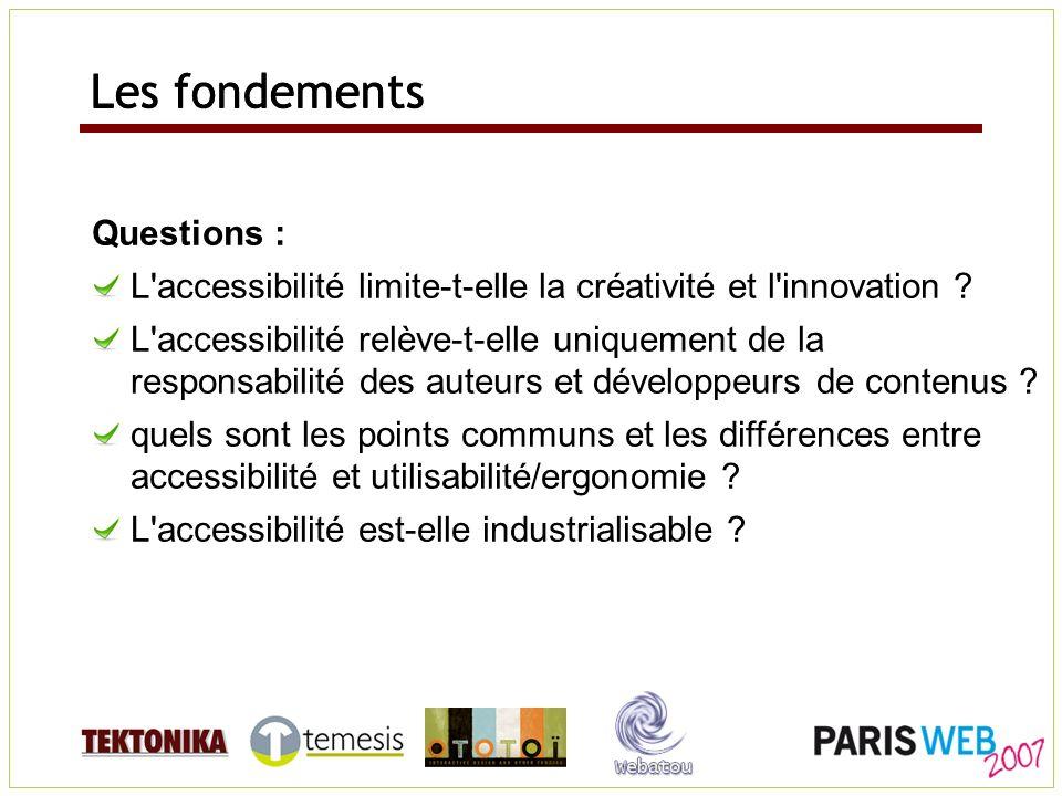 Questions : L'accessibilité limite-t-elle la créativité et l'innovation ? L'accessibilité relève-t-elle uniquement de la responsabilité des auteurs et