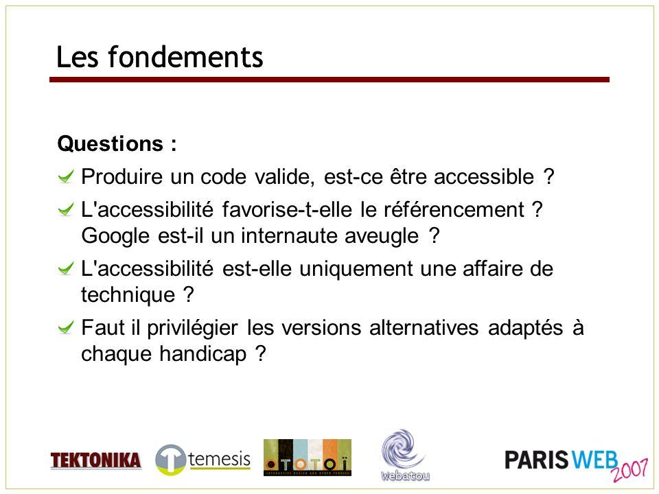 Questions : Produire un code valide, est-ce être accessible ? L'accessibilité favorise-t-elle le référencement ? Google est-il un internaute aveugle ?