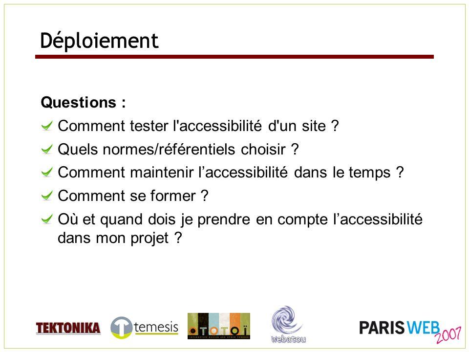 Déploiement Questions : Comment tester l'accessibilité d'un site ? Quels normes/référentiels choisir ? Comment maintenir laccessibilité dans le temps