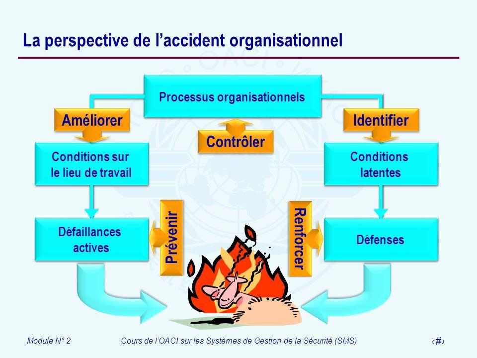 Module N° 2Cours de lOACI sur les Systèmes de Gestion de la Sécurité (SMS) 16 La perspective de laccident organisationnel Processus organisationnels C