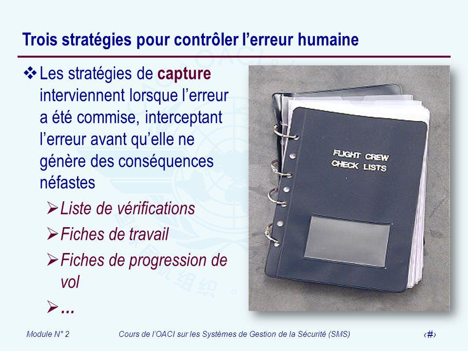 Module N° 2Cours de lOACI sur les Systèmes de Gestion de la Sécurité (SMS) 27 Trois stratégies pour contrôler lerreur humaine Les stratégies de captur