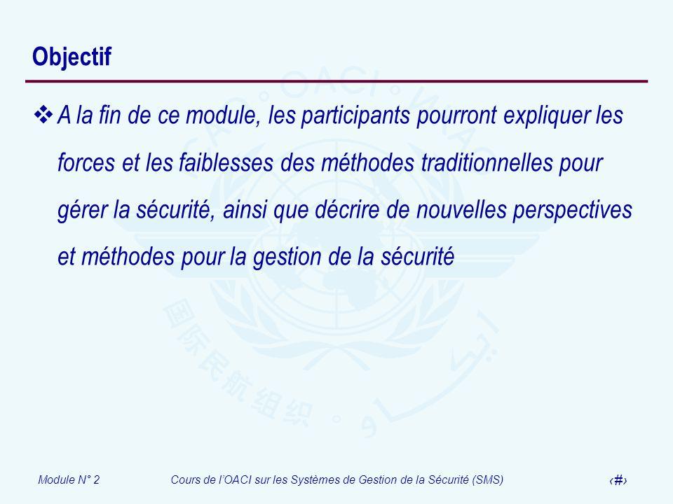 Module N° 2Cours de lOACI sur les Systèmes de Gestion de la Sécurité (SMS) 3 Objectif A la fin de ce module, les participants pourront expliquer les f