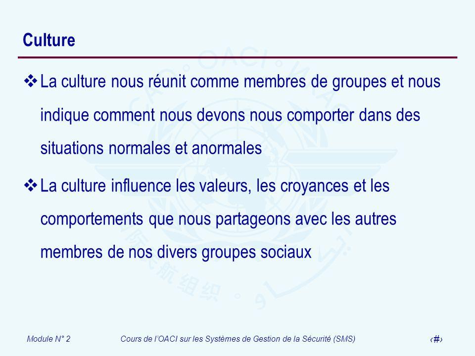 Module N° 2Cours de lOACI sur les Systèmes de Gestion de la Sécurité (SMS) 30 Culture La culture nous réunit comme membres de groupes et nous indique