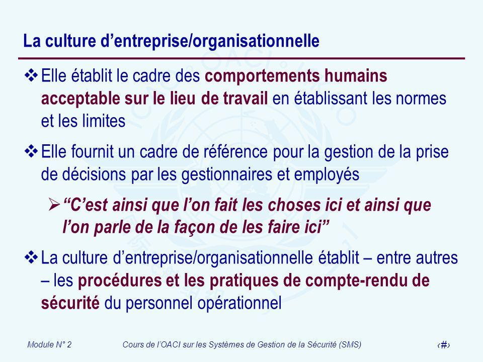 Module N° 2Cours de lOACI sur les Systèmes de Gestion de la Sécurité (SMS) 33 La culture dentreprise/organisationnelle Elle établit le cadre des compo